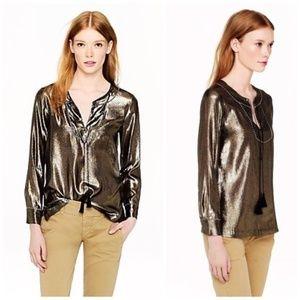 J. Crew   Silk Gold Metallic Tunic Top Tassels 2
